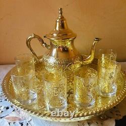 Moroccan Handmade Golden Tea Set Handmade TeaPot, Tea Tray, Set Of 6 Tea Cups