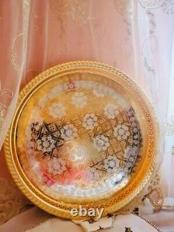 Moroccan Handmade Golden Tea Set Large TeaPot, Tea Tray, Set Of 6 Tea Cups NEW