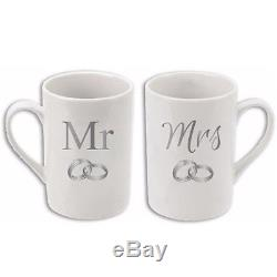 Mr And Mrs Crystal Ring China Mug Coffee Cup Tea Mugs Gift Anniversary Set Box