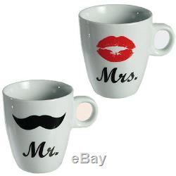 Mr Mrs Coffee Tea Mug Drink Gift Anniversary Wedding Novelty Cup Kitchen Set New