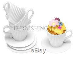 New Set Of 4/8 Teacup Cupcake Moulds And Saucers Silicone Teacup/plastic Saucer