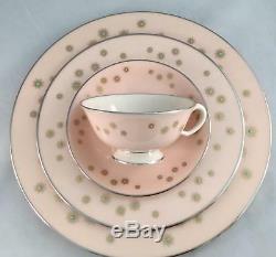 New! Set of 4 Pink Lenox JEWEL A557 Gold Star Tea Cups & Saucers FREE SHIP