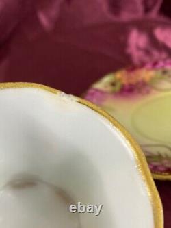 Nippon Chocolate Pot & Teacup Saucer Hand Painted Flowers Moriage Beaded Set/4
