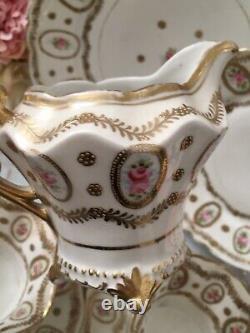 Nippon Noritake Teacup Trio Tea Cup Cake Plate Set Pink Roses Gold Set Of 6items
