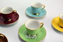 Noritake Harlequin Demitasse Tea cup set Nippon Porcelain 7 Duos