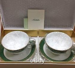 Noritake Tokyo DIsneyland Club 33 Exclusive Tea Cup & Saucer SET White Green