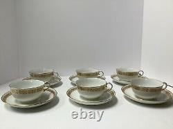Nymphenburg Porcelain Set 6 Cups Saucers. Basketweave Border. Antique Germany