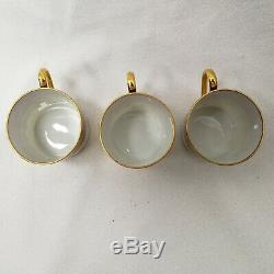 Objets D'Art Marcel Chaufriasse Limoges China Tea Cups & Saucers Set of 6 withCase