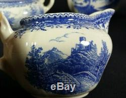 Old VILLEROY and BOCH Tea Pot Cup Set Saar Burgenland Blue White Transferware