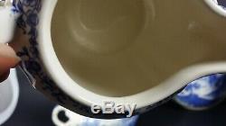 Old VILLEROY and BOCH Tea Pot Cup Set Saar Burgenland Blue White Transferware