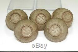 Otagaki Rengetsu (1791-1875) Set of 5 poem carved tea cups #3596