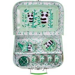 PANDA PICNIC TEA SET / Kids Vintage Toy Case Cup Plate Teapot Tray Birthday Gift