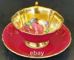PARAGON Antique Teacup & Saucer Set HEAVY GOLD with HUGE FLOATING CABBAGE ROSE