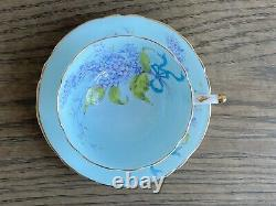 PARAGON DOUBLE WARRANT Rare Light Blue Bow LILAC Teacup Saucer Set Gold Trim