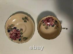 PARAGON Double Warrant Cabbage Rose Tea Cup & Saucer SET OF 4 NICE -see Descrip
