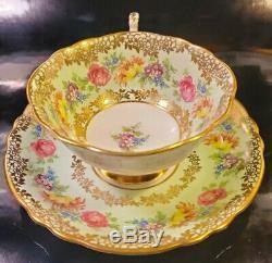 PARAGON Heavy Gold Rose Floral Teacup & Saucer Set Vintage Antique RARE England