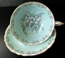 PARAGON Lily of the Valley To The Bride Teacup and Saucer Set Light Green MINT