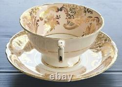 PARAGON Pink Floating Roses Teacup and Saucer Set RARE Vintage Stunning Crazing