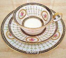 PARAGON Star China Tea Cup Saucer and Plate Trio Set Cobalt Blue Pink Roses Gold