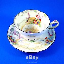 Painted Very Rare Star Mark Paragon Old World Garden Tea Cup and Saucer Set