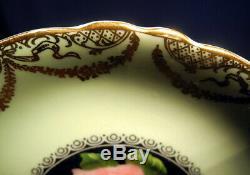 Paragon Bone China Light Green Gold Cabbage Rose Black Tea Cup and + Saucer Set