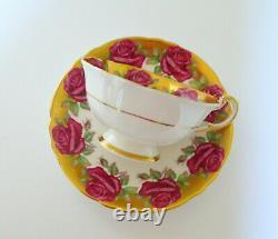 Paragon Cabbage Rose Gold Tea Cup & Saucer Set