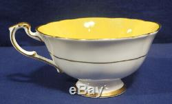 Paragon China Large White Cabbage Rose on Yellow Background Tea Cup + Saucer Set