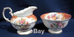 Paragon China Rockingham Pink Tea Set Teapot Creamer Sugar 2 Cup + Saucer Sets
