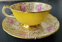 Paragon Chintz Double Warrant Yellow Demitasse Teacup and Saucer Set Vintage