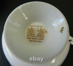 Paragon Cobalt Blue Cabbage Rose Heavy Gold Teacup and Saucer Set Vintage