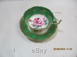 Paragon Double Stamp Teacup & Saucer Set Green w gold Medallion Rose