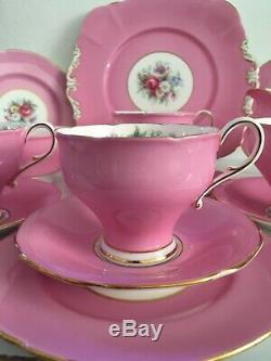 Paragon Double Warant Corset Shape Pink Tea Cup Pink Tea Set Trios Roses 15 Item