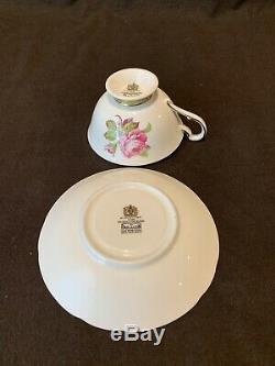 Paragon F176D Pink Cabbage Rose Tea Cup and Saucer Set Heavy Gold Rim