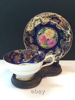 Paragon Mums Cobalt And Gold Hand Painted Tea Cup & Saucer Set Cs13