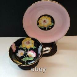 Paragon Peony Pink Hand Painted Teacup & Saucer Set Black Interior E4237