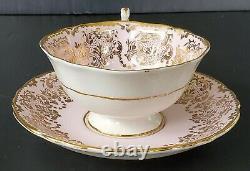 Paragon Pink Floating Cabbage Rose Teacup and Saucer Set RARE Vintage Stunning
