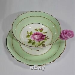 Paragon Pink Rose Handle Tea Cup and Saucer Set