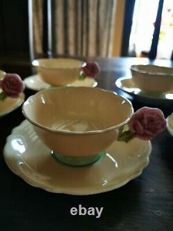 Paragon Rose Handle Bone China Tea Cup & Saucer 5 Set Beige Rare/Vintage/Antique
