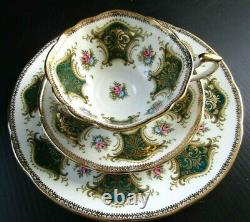 Paragon Teacup & Saucer Trio Antique Set Green with Roses England Heavy Gold