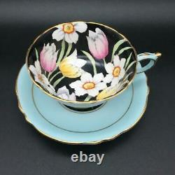 Paragon Tulip Flowers Black + Blue Tea Cup & Saucer Set Dbl Warrant A65711 Cs75
