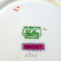 Pedestal Pale Green Shelley Crochet Tea Cup and Saucer Set