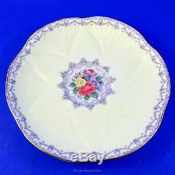 Pedestal Pale Yellow Shelley Crochet Tea Cup and Saucer Set