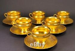 Pickard USA China Gold Embossed Rose Daisy Tea Cup and Saucer Set of 6