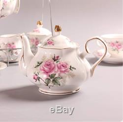 Pink Camellia 15 Piece European Bone China Tea Cup Set