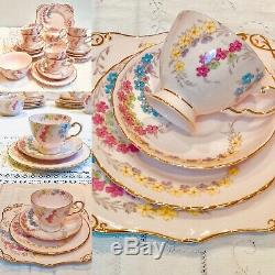 Pink Tuscan Tea Set English Fine Bone China 21 Piece Tea cups and saucers