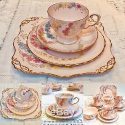 Pink Tuscan Tea Set English Fine Bone China 21 Piece Tea cups and saucers
