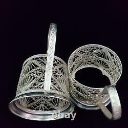 Podstakannik Tea Glass Cup Holder Filigree Silver Plated USSR Russian set of 7