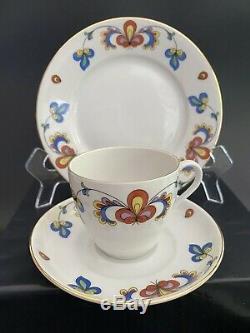 Porsgrund FARMERS ROSE Norway Early Mark Gold Trim Tea Set for 6