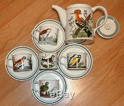 Portmeirion Birds of Britain Hoopoe & Roller Teapot Sugar 4 Tea Cups Saucer Set