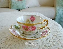 Pouyatlimogeslovelywindingrosesthickgoldtea Cup & Plateset! 6 Available